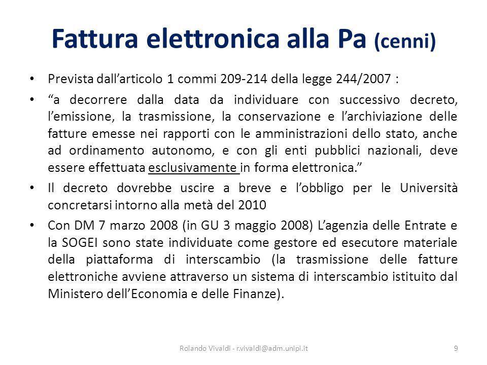 Fattura elettronica alla Pa (cenni)
