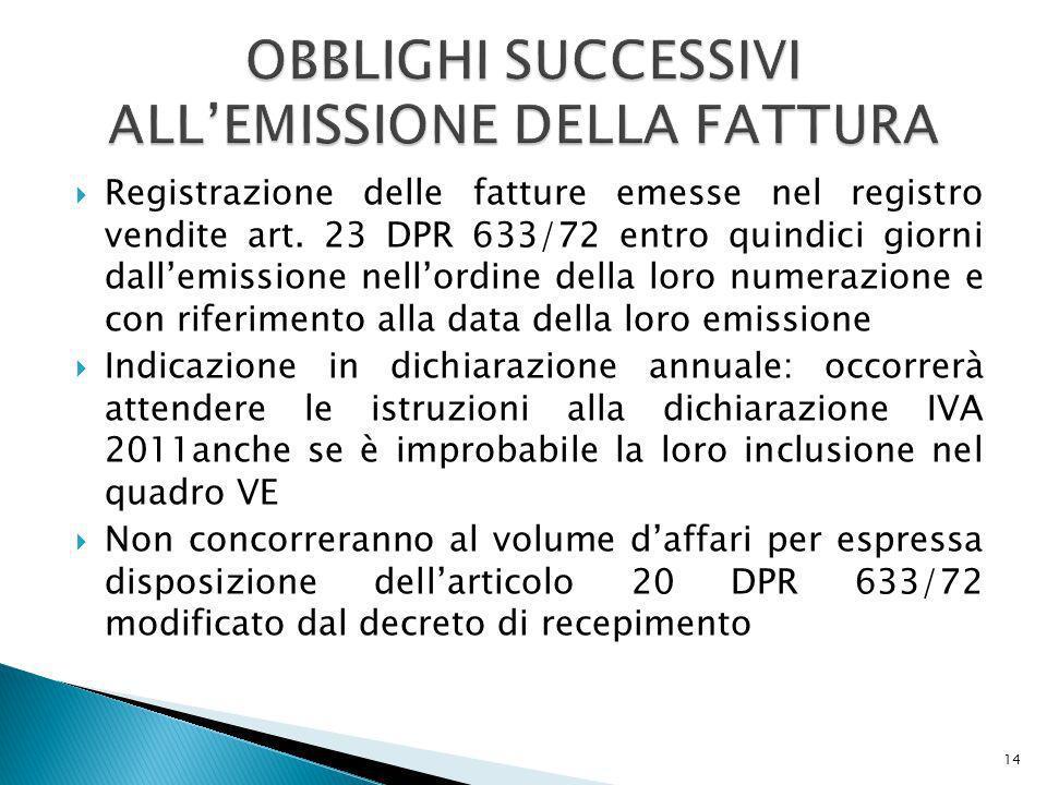 OBBLIGHI SUCCESSIVI ALL'EMISSIONE DELLA FATTURA