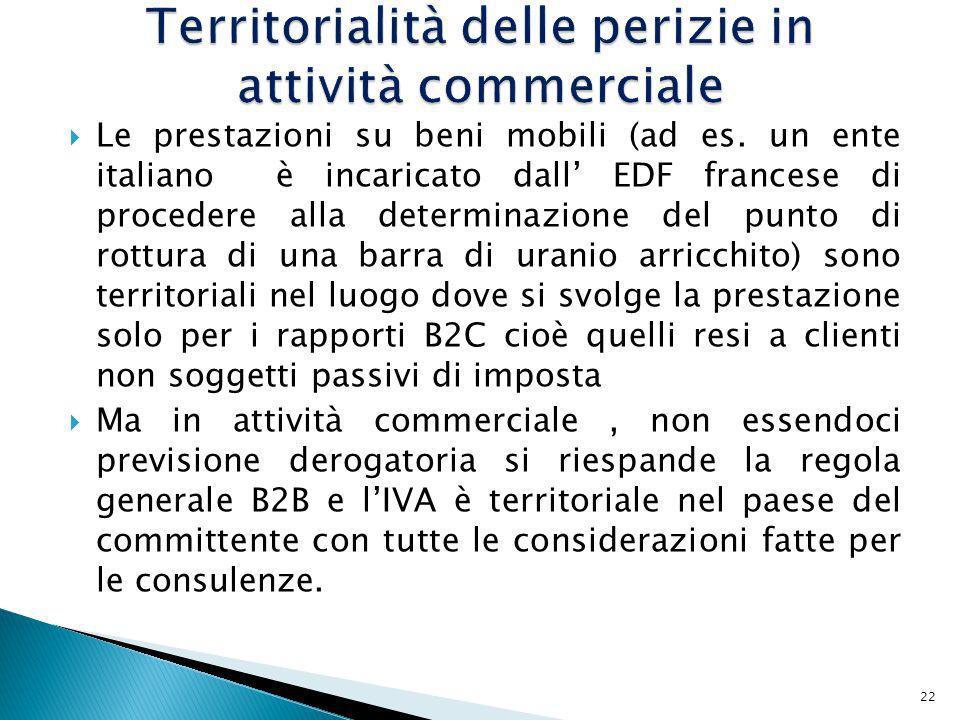 Territorialità delle perizie in attività commerciale