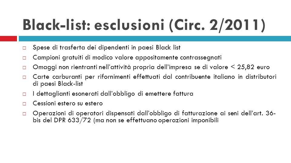 Black-list: esclusioni (Circ. 2/2011)