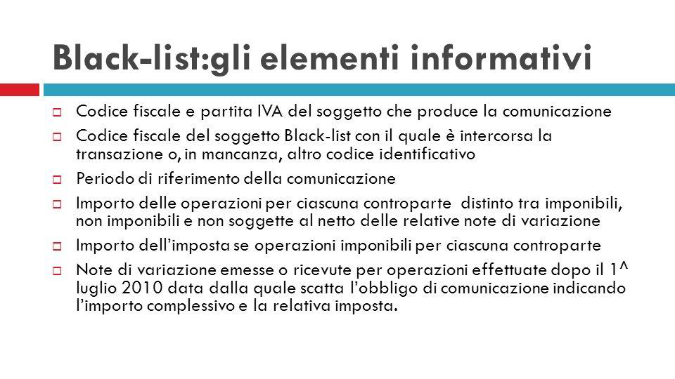 Black-list:gli elementi informativi