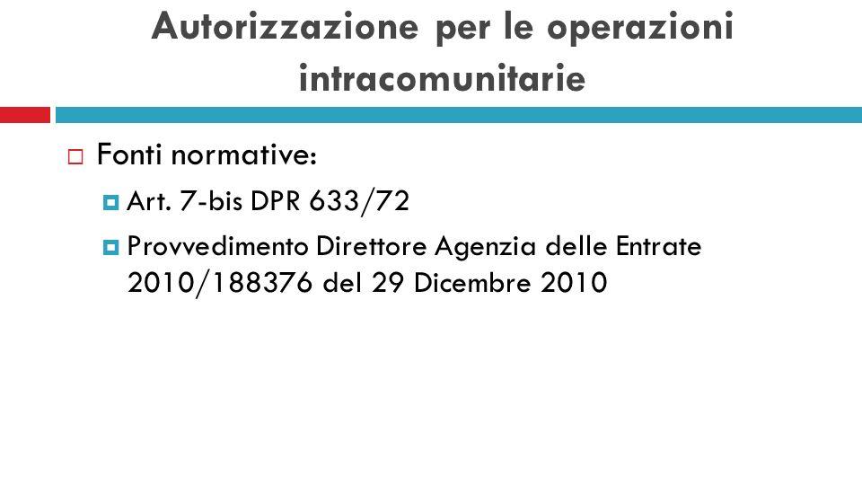 Autorizzazione per le operazioni intracomunitarie