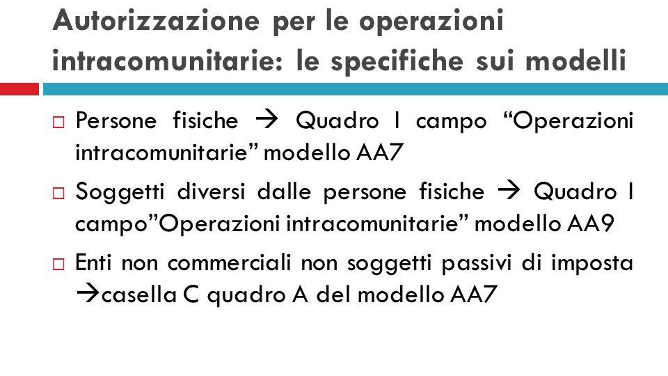 Autorizzazione per le operazioni intracomunitarie: le specifiche sui modelli