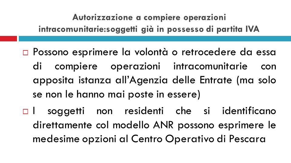 Autorizzazione a compiere operazioni intracomunitarie:soggetti già in possesso di partita IVA