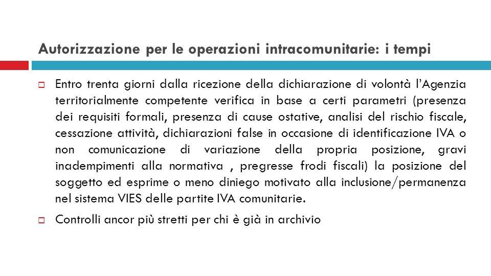 Autorizzazione per le operazioni intracomunitarie: i tempi