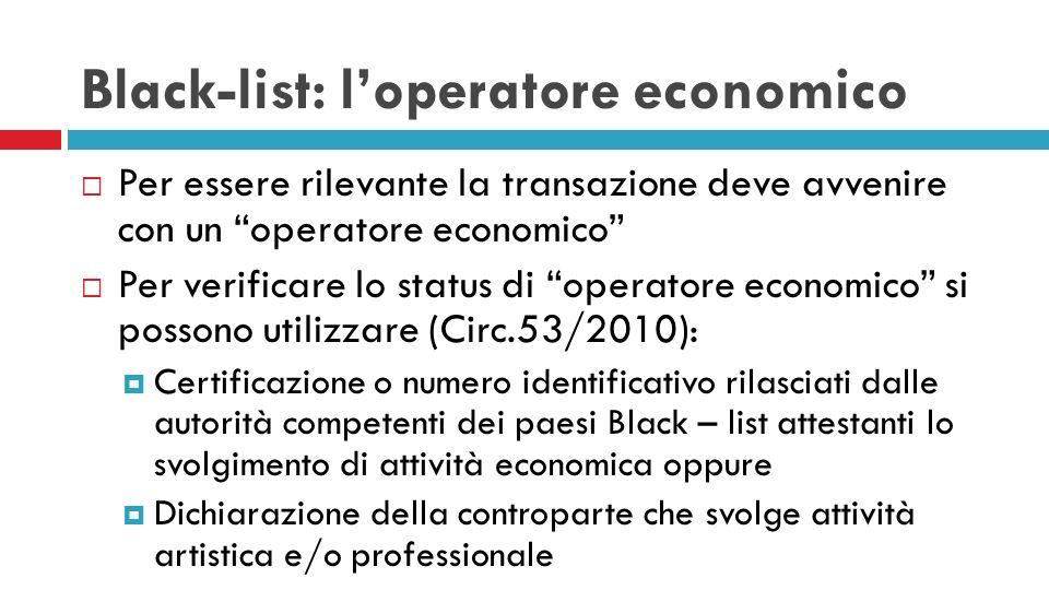 Black-list: l'operatore economico