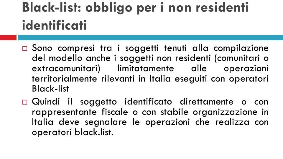 Black-list: obbligo per i non residenti identificati