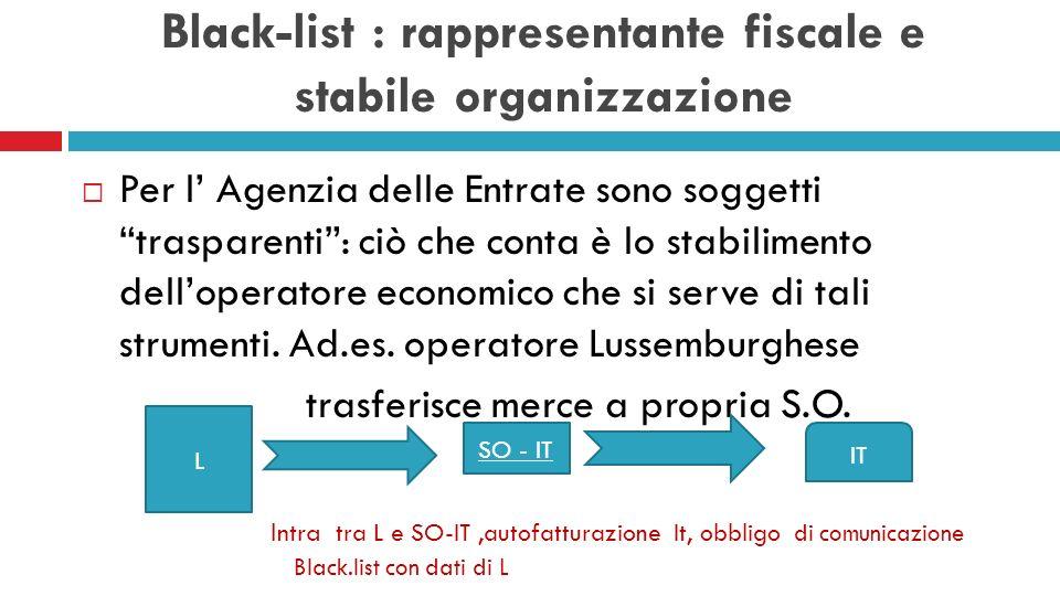 Black-list : rappresentante fiscale e stabile organizzazione