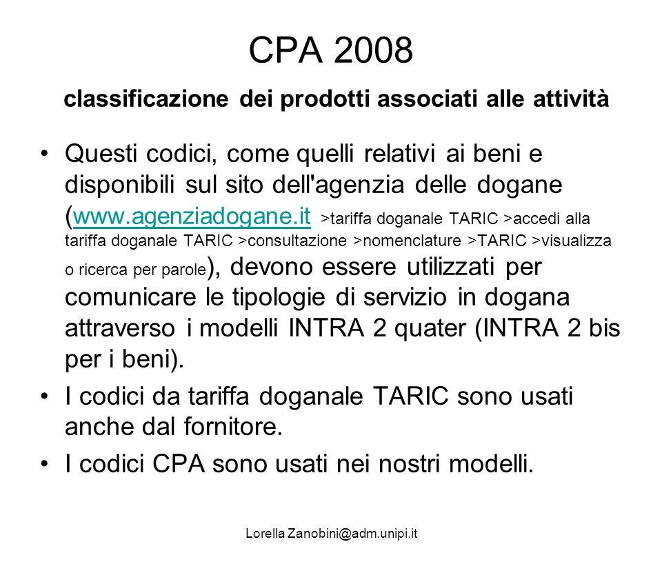 CPA 2008 classificazione dei prodotti associati alle attività
