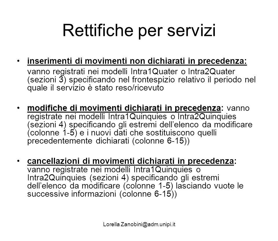 Rettifiche per servizi