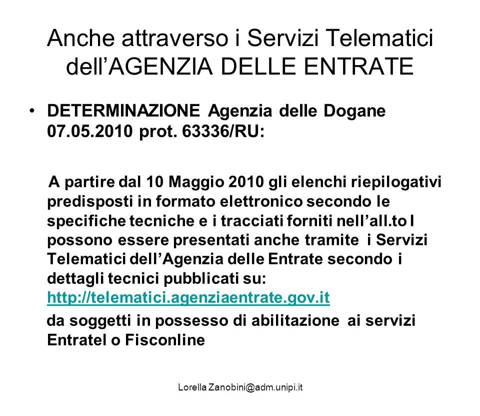 Anche attraverso i Servizi Telematici dell'AGENZIA DELLE ENTRATE