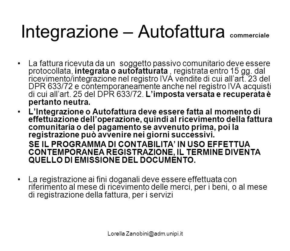 Integrazione – Autofattura commerciale