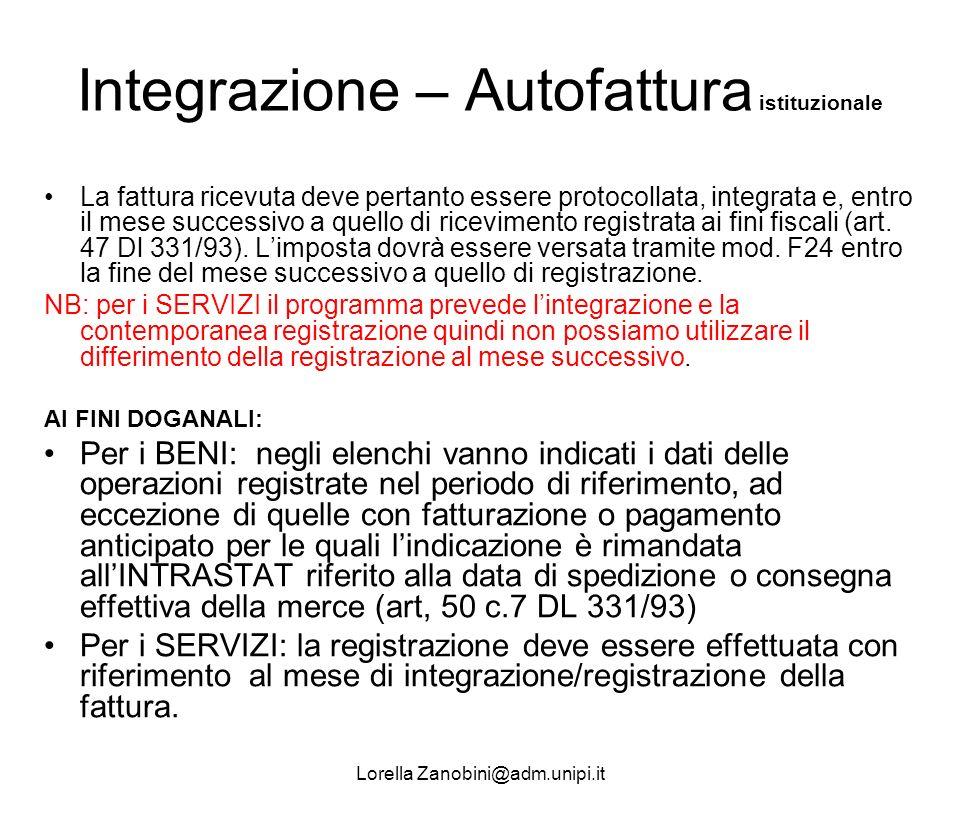 Integrazione – Autofattura istituzionale
