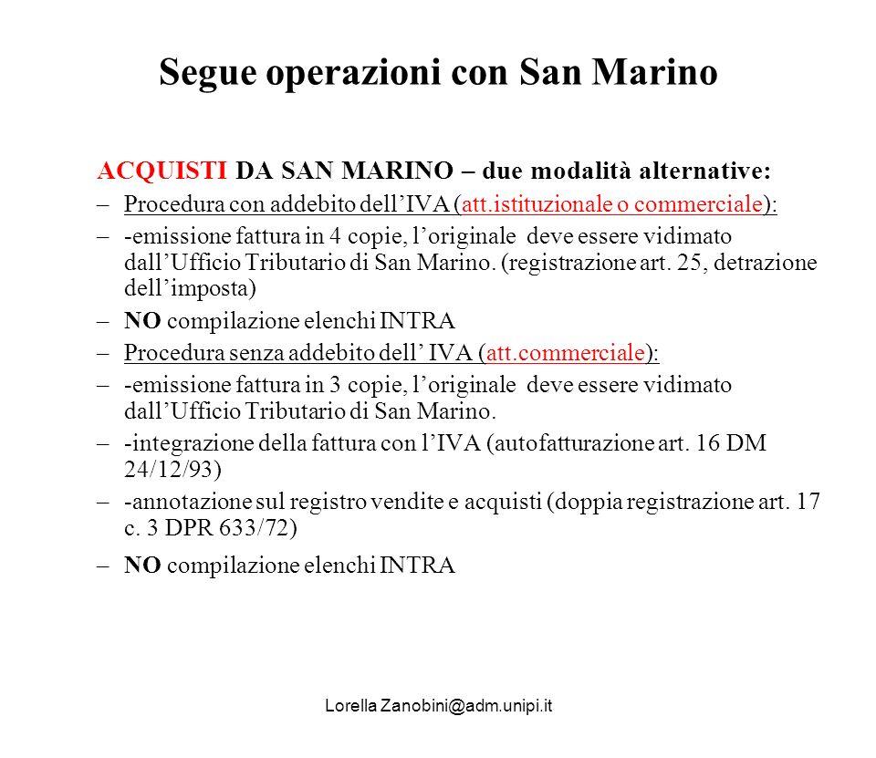 Segue operazioni con San Marino