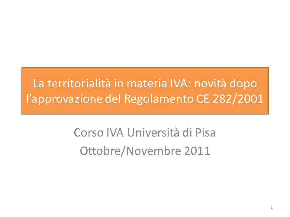 Corso IVA Università di Pisa Ottobre/Novembre 2011