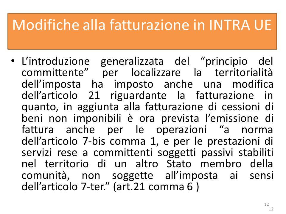 Modifiche alla fatturazione in INTRA UE