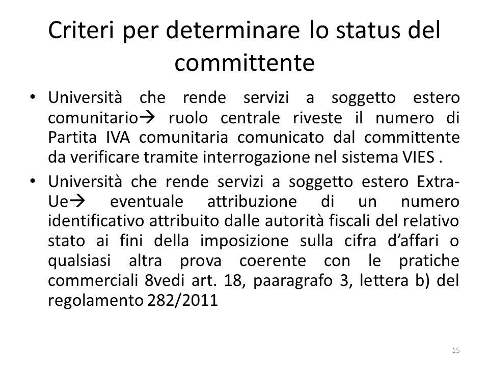 Criteri per determinare lo status del committente