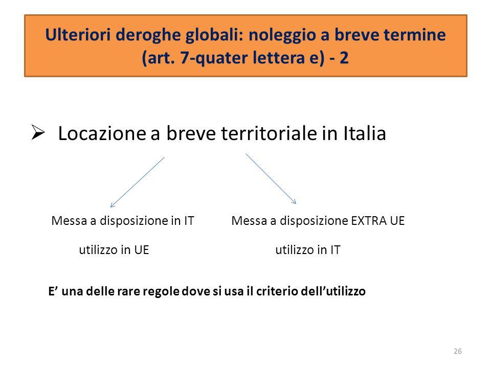 Locazione a breve territoriale in Italia