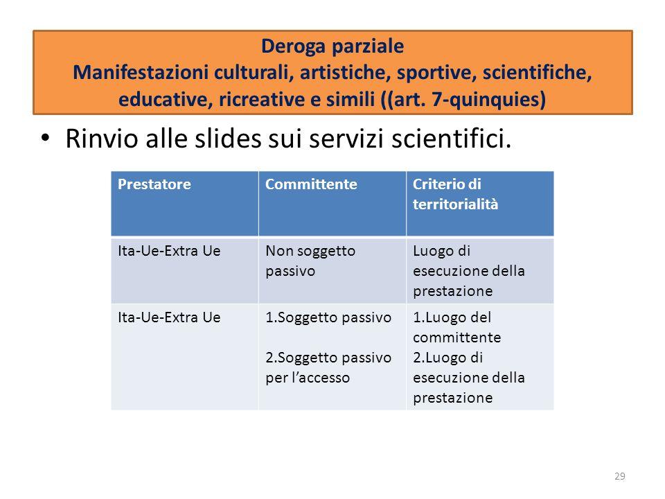 Rinvio alle slides sui servizi scientifici.