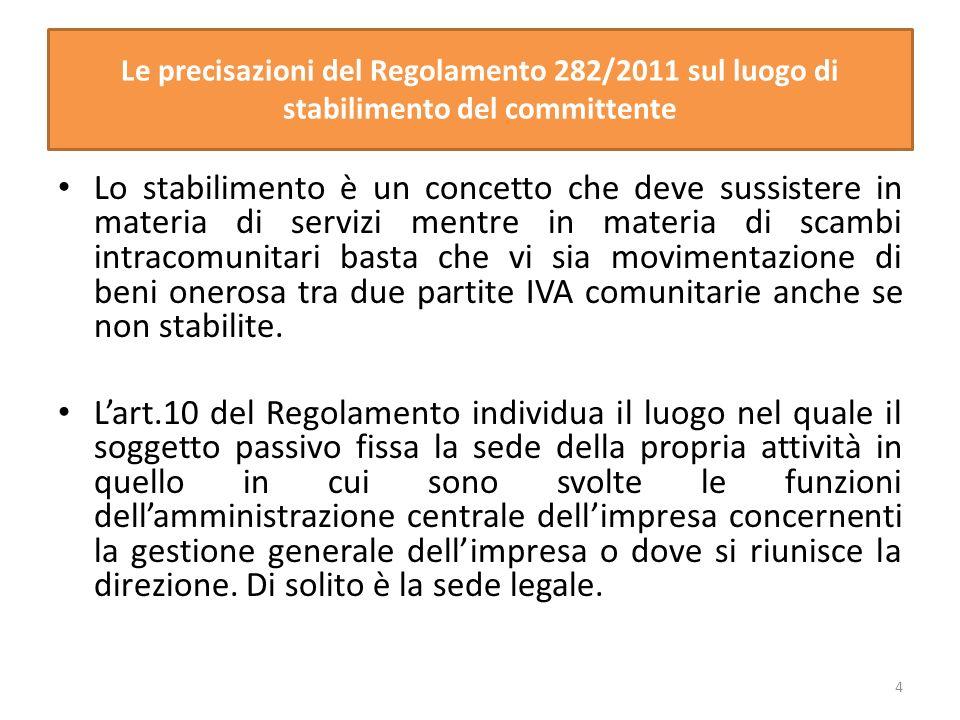 Le precisazioni del Regolamento 282/2011 sul luogo di stabilimento del committente
