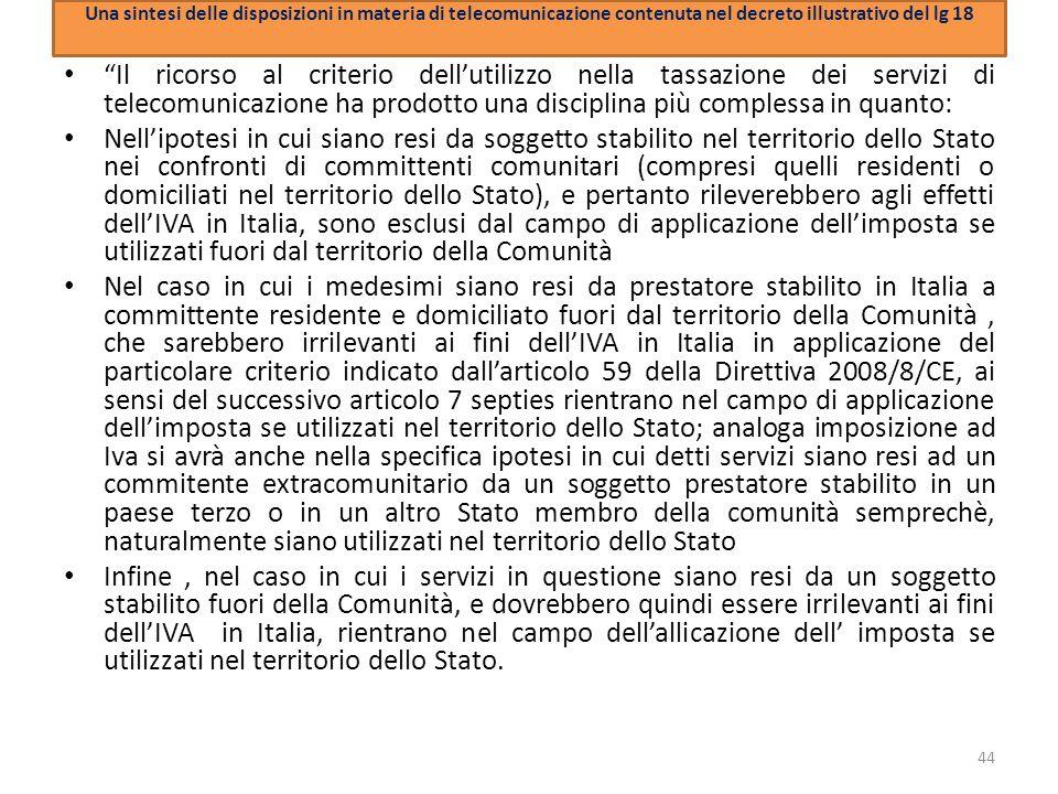 Una sintesi delle disposizioni in materia di telecomunicazione contenuta nel decreto illustrativo del lg 18