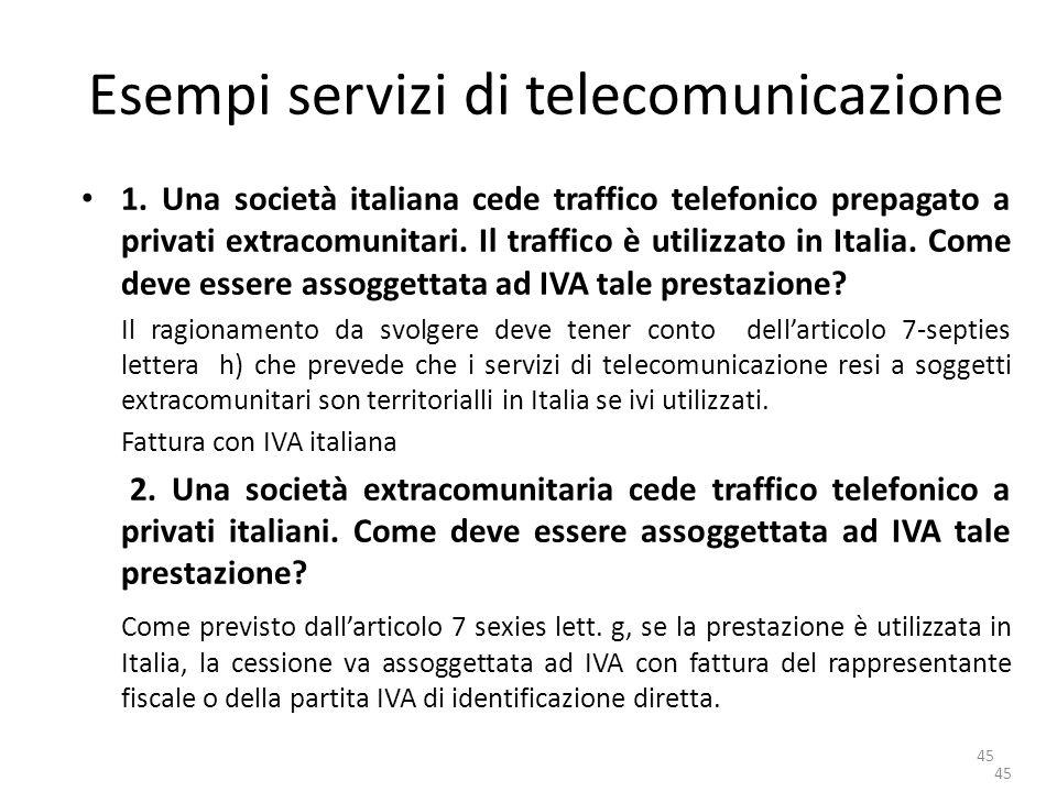 Esempi servizi di telecomunicazione