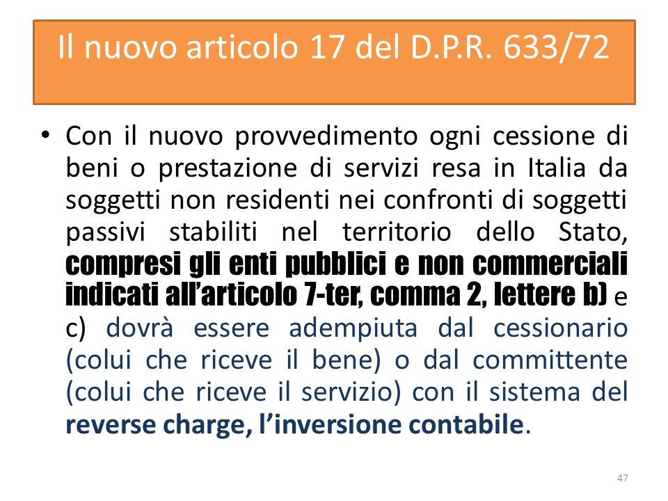 Il nuovo articolo 17 del D.P.R. 633/72