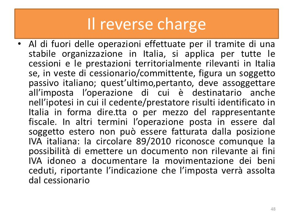 Il reverse charge