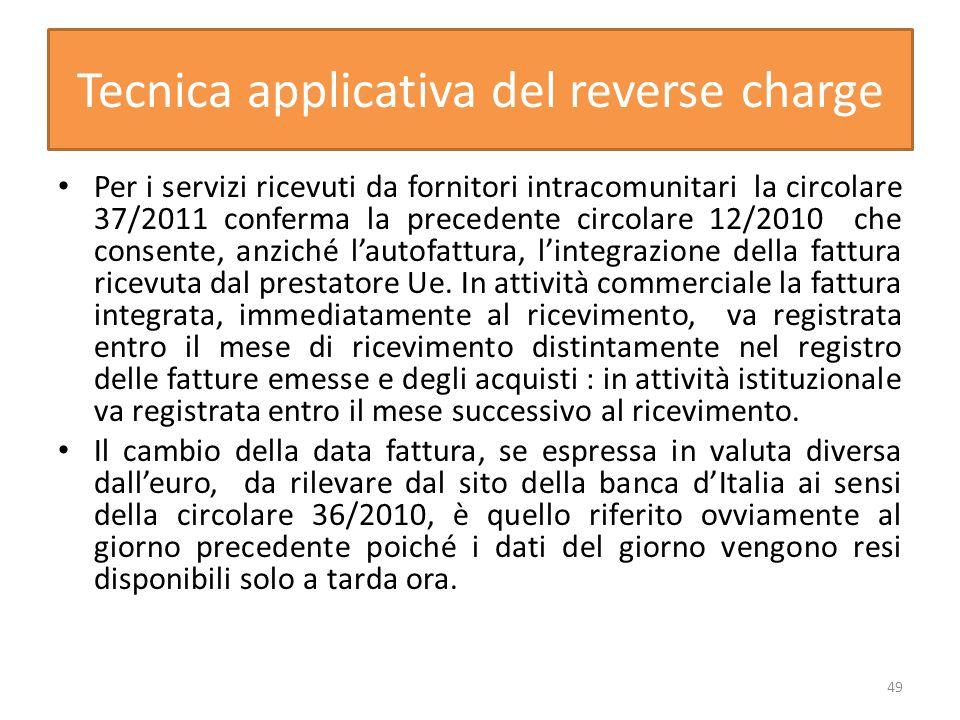 Tecnica applicativa del reverse charge