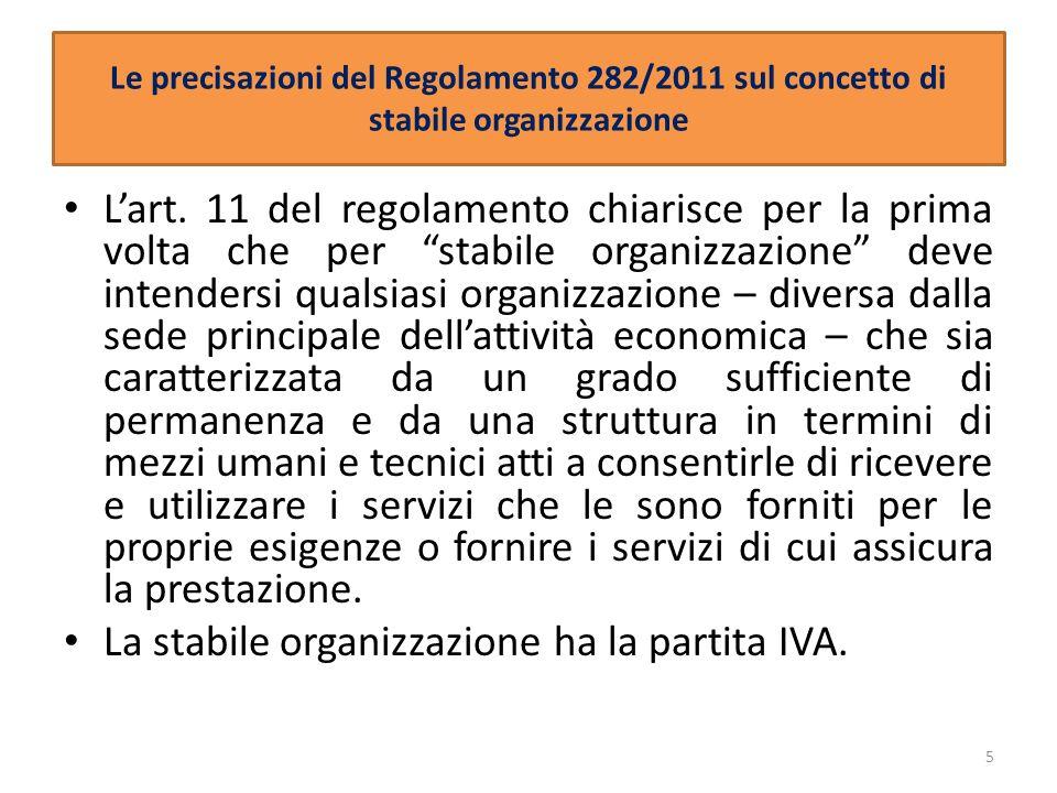 La stabile organizzazione ha la partita IVA.