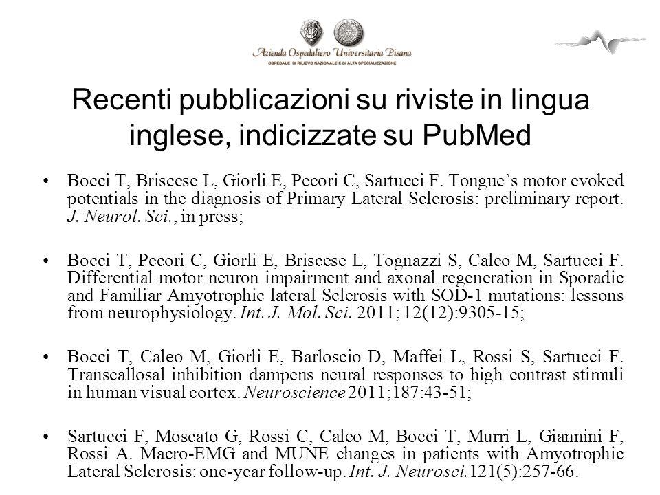 Recenti pubblicazioni su riviste in lingua inglese, indicizzate su PubMed