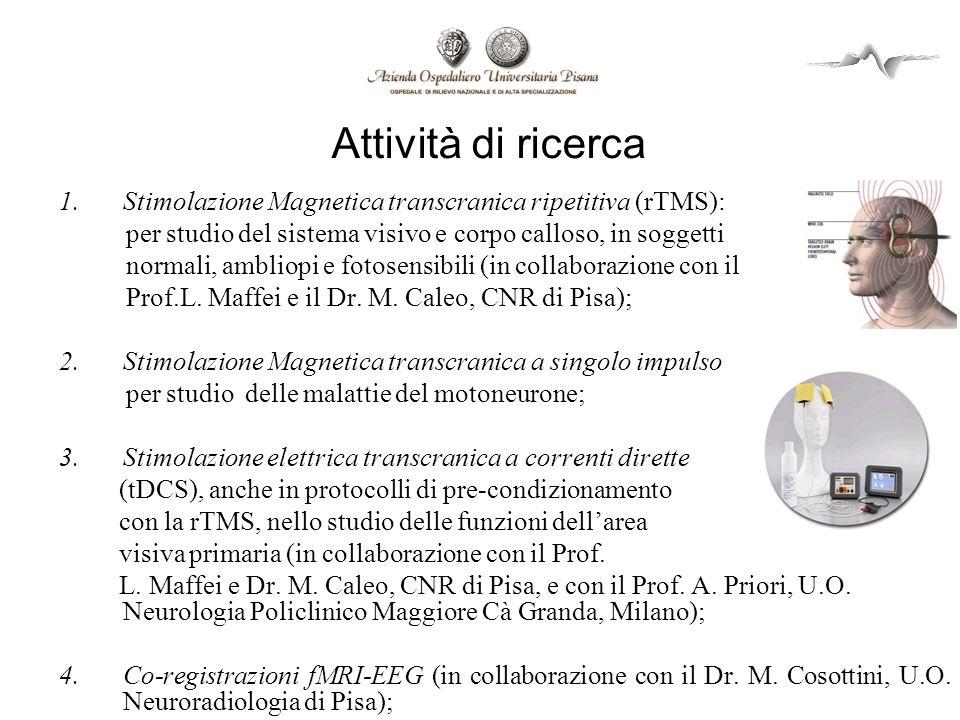 Attività di ricerca Stimolazione Magnetica transcranica ripetitiva (rTMS): per studio del sistema visivo e corpo calloso, in soggetti.