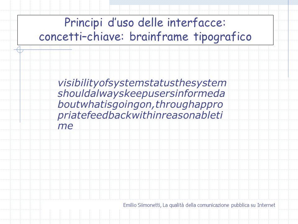 Principi d'uso delle interfacce: concetti–chiave: brainframe tipografico