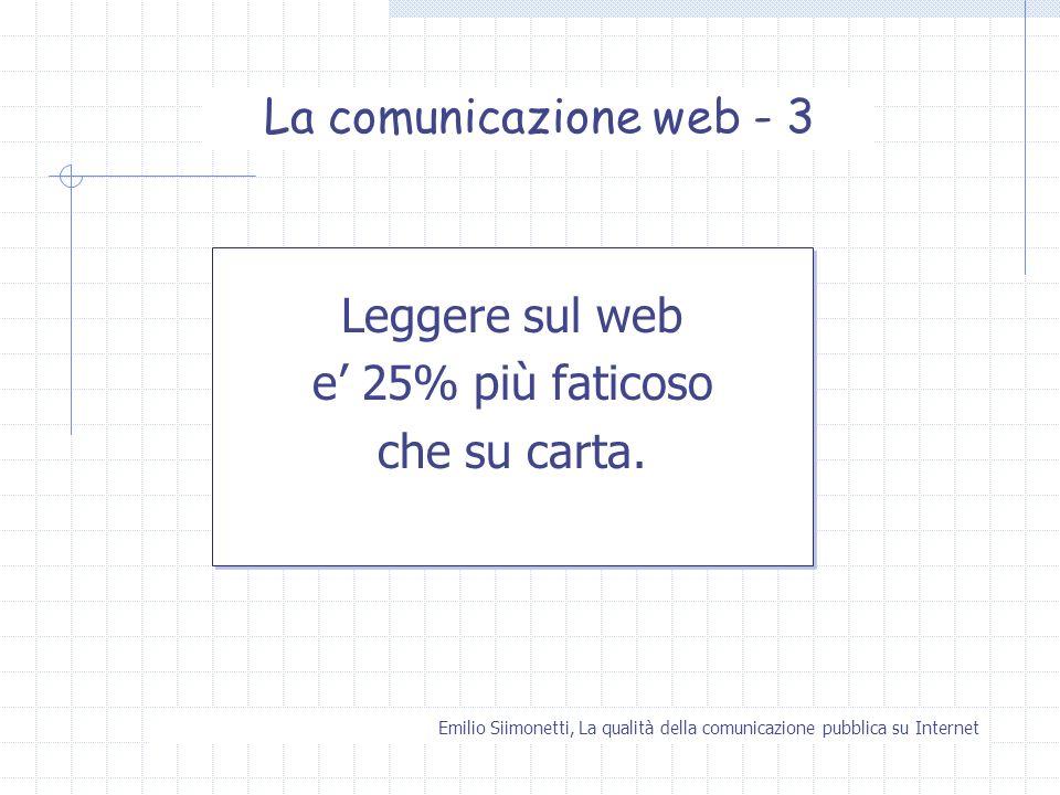La comunicazione web - 3 Leggere sul web e' 25% più faticoso