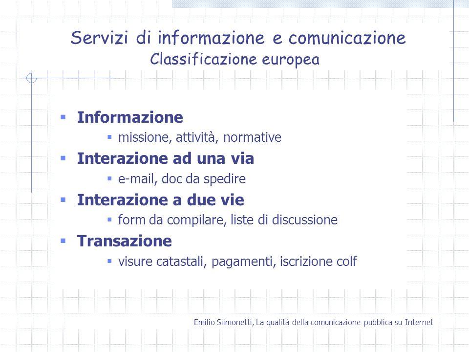 Servizi di informazione e comunicazione Classificazione europea