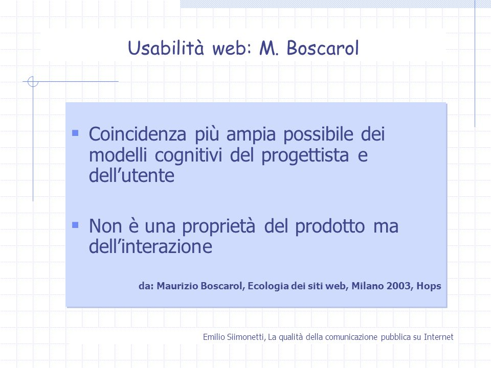 Usabilità web: M. Boscarol