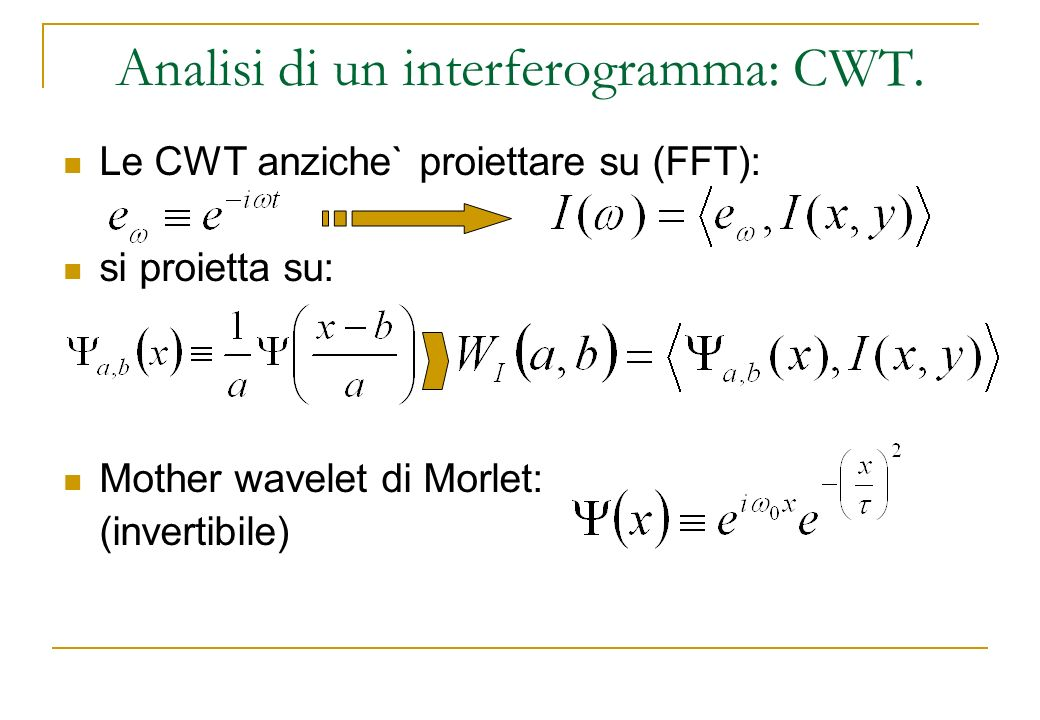Analisi di un interferogramma: CWT.