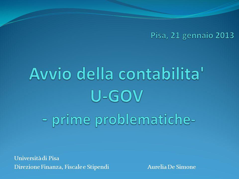 Avvio della contabilita U-GOV - prime problematiche-