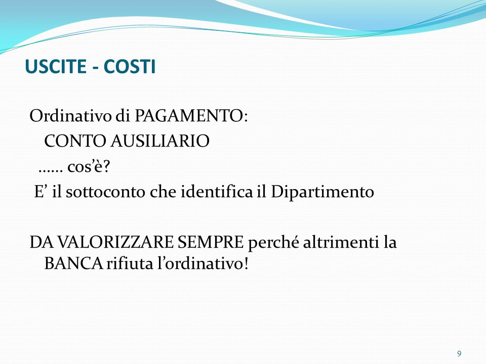 USCITE - COSTI