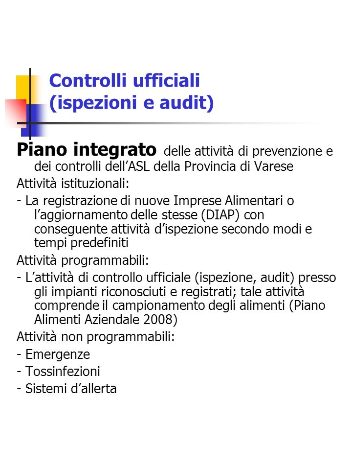 Controlli ufficiali (ispezioni e audit)