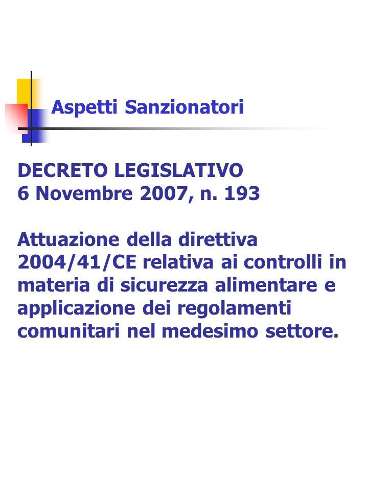 Aspetti Sanzionatori DECRETO LEGISLATIVO. 6 Novembre 2007, n. 193.