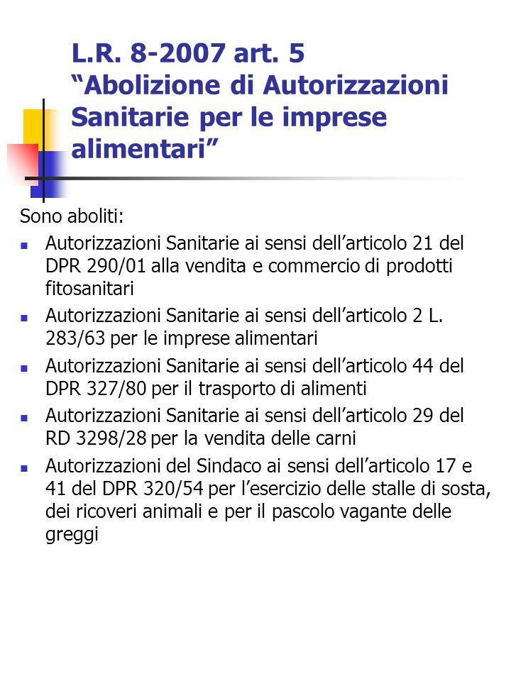 L.R. 8-2007 art. 5 Abolizione di Autorizzazioni Sanitarie per le imprese alimentari