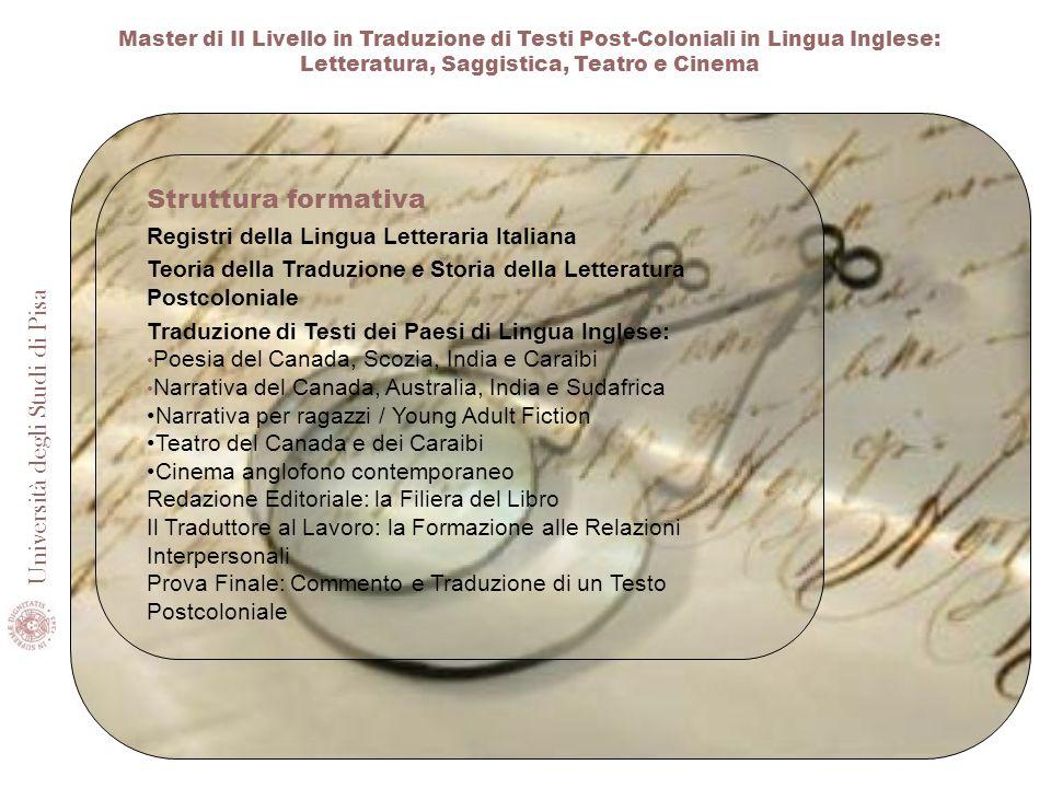 Struttura formativa Registri della Lingua Letteraria Italiana