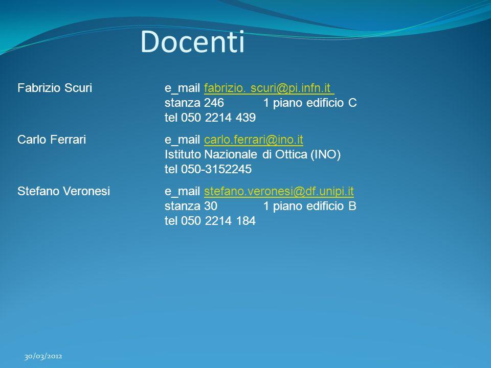 Docenti Fabrizio Scuri e_mail fabrizio. scuri@pi.infn.it stanza 246 1 piano edificio C tel 050 2214 439.