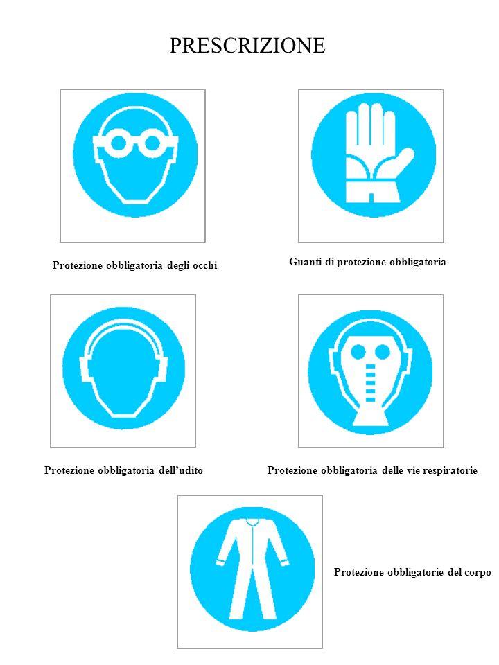 PRESCRIZIONE Protezione obbligatoria degli occhi