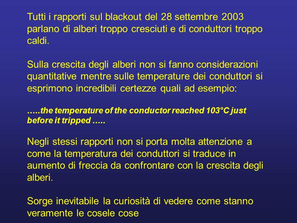 Tutti i rapporti sul blackout del 28 settembre 2003 parlano di alberi troppo cresciuti e di conduttori troppo caldi.