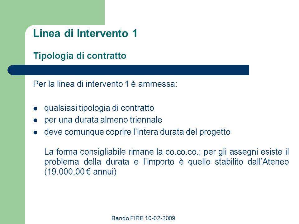 Linea di Intervento 1 Tipologia di contratto