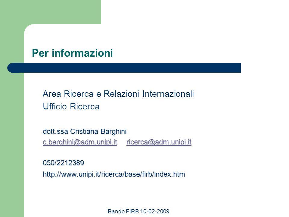 Per informazioni Area Ricerca e Relazioni Internazionali