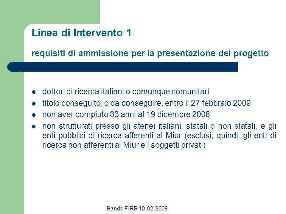 Linea di Intervento 1 requisiti di ammissione per la presentazione del progetto