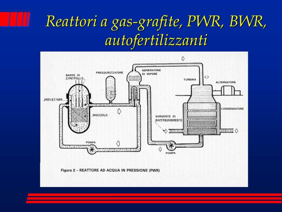 Reattori a gas-grafite, PWR, BWR, autofertilizzanti